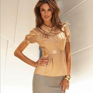 Victoria's Secret gold elegant classy blouse XS